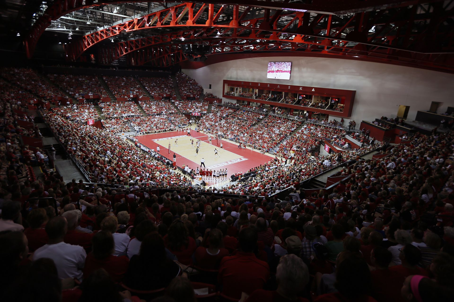Fans enjoying a volleyball game held at the Bob Devaney Sports Center