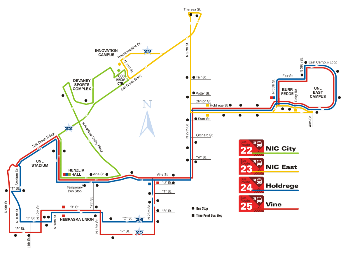 image of UNL Startran bus routes