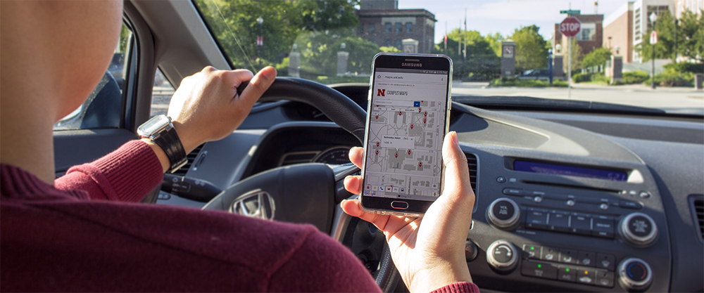 navigating campus streets via UNL Maps